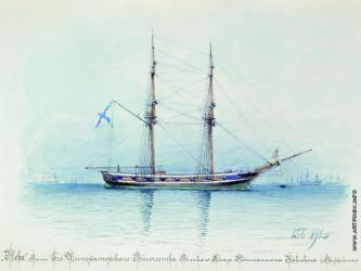 Акварель Лагорио яхта Нева