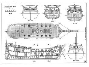 Чертёж модели гукора Двина,  План палубы