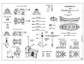 Чертёж модели гукора Двина,  пушки, якоря, шлюпки