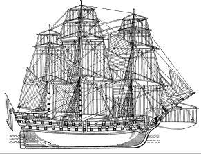 чертёж корабля Святой Павел.  Общий вид