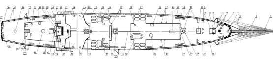 Модель парусника  `Мир`. бок корпуса.