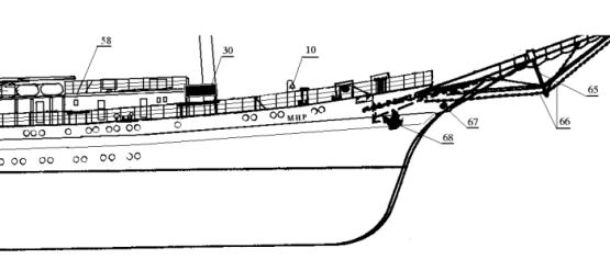 Модель парусника  `Мир`. Нос корпуса.