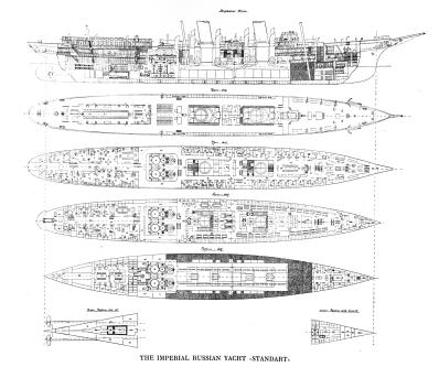 Чертёж яхты Штандарт. разрез и планs палуб